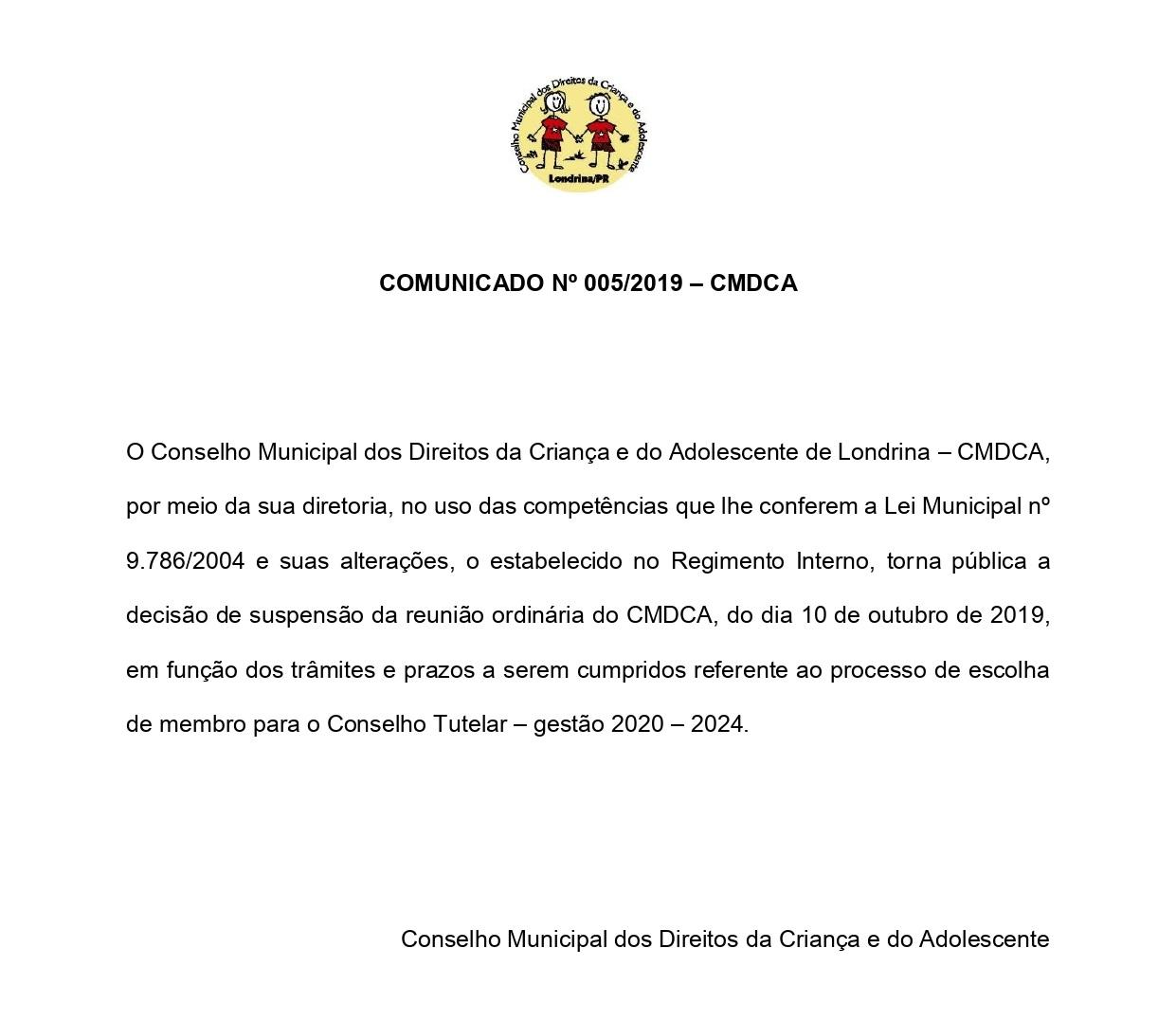 Comunicado nº 05/2019 - CMDCA
